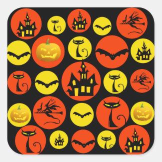 Fun Halloween Polka Dot Pattern Haunted House Square Sticker