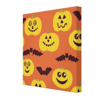 Fun Halloween Pumpkin Bat Design Gallery Wrapped Canvas