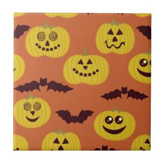 Fun Halloween Pumpkin & Bat Design Ceramic Tiles