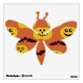 Fun Halloween Pumpkin & Bat Design Wall Decal