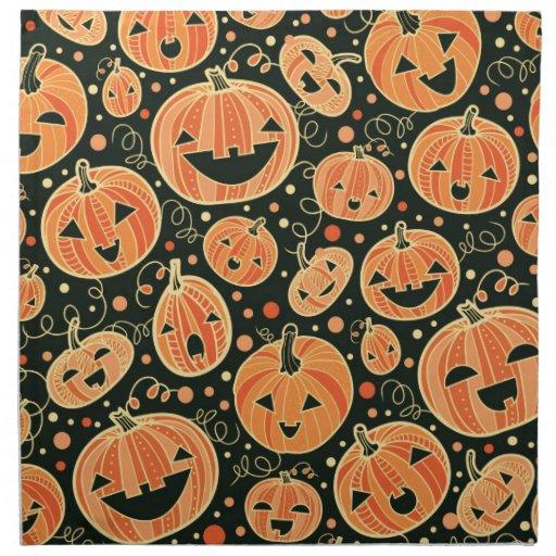 Fun halloween pumpkins pattern cloth napkin zazzle for Halloween cloth napkins