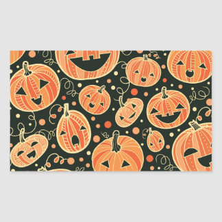 Fun Halloween Pumpkins Pattern Rectangular Sticker