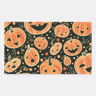 Fun Halloween Pumpkins Pattern Rectangular Sticker