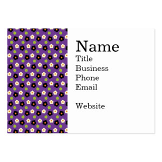 Fun Halloween Purple Green Black Flower Pattern Large Business Cards (Pack Of 100)