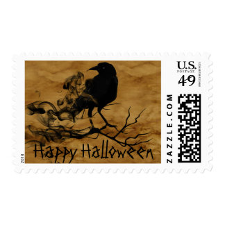 Fun Halloween Scary Night with Raven Crow Stamp