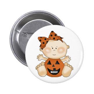 Fun Halloween Theme BOO Baby Girl Pin Button
