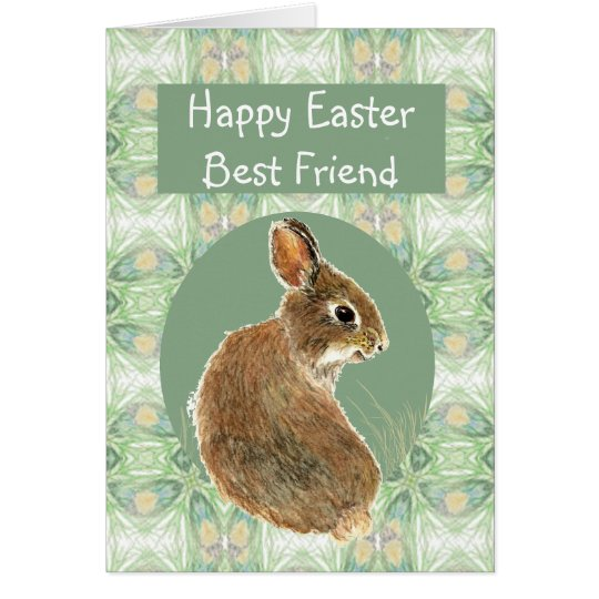 Fun Happy Easter Best Friend with Cute Bunny Card