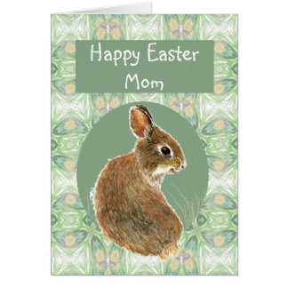 Fun Happy Easter Mom with Cute Bunny Greeting Card