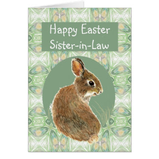Fun Happy Easter Sister-in-Law with Cute Bunny Card