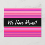 [ Thumbnail: Fun, Happy, Girly Pink and Purple Stripes Pattern Postcard ]