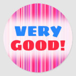 [ Thumbnail: Fun, Happy, Girly Pink and Purple Stripes Pattern Round Sticker ]