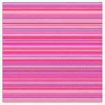 [ Thumbnail: Fun, Happy, Girly Pink and Purple Stripes Pattern Fabric ]