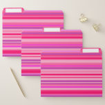 [ Thumbnail: Fun, Happy, Girly Pink and Purple Stripes Pattern File Folder ]
