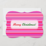 [ Thumbnail: Fun, Happy, Girly Pink and Purple Stripes Pattern Invitation ]