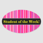 [ Thumbnail: Fun, Happy, Girly Pink and Purple Stripes Pattern Sticker ]