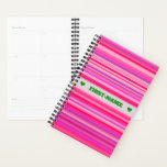 [ Thumbnail: Fun, Happy, Girly Pink and Purple Stripes Pattern Planner ]