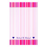 [ Thumbnail: Fun, Happy, Girly Pink and Purple Stripes Pattern Stationery ]