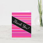 [ Thumbnail: Fun, Happy, Girly Pink and Purple Stripes Pattern Card ]