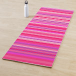 [ Thumbnail: Fun, Happy, Girly Pink and Purple Stripes Pattern Yoga Mat ]
