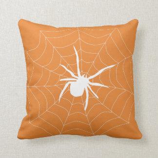 Fun Happy Halloween Black &  Orange Spider Web Throw Pillow
