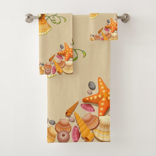 Fun Happy Seashells Bathroom Towel Set