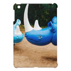 Fun Happy Smiling Blue Rhino Rhinocerus iPad Mini Covers