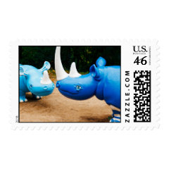 Fun Happy Smiling Blue Rhino Rhinocerus Postage Stamp