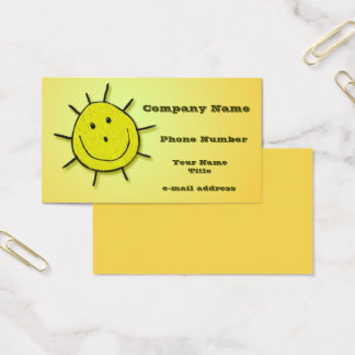 Fun Happy Sun Faux Embroidery Business Card