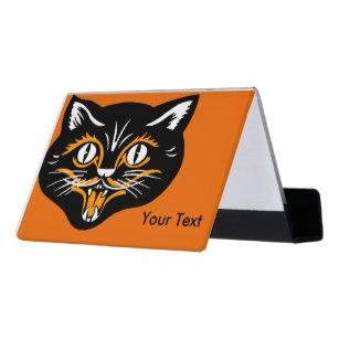 Fun business card holders zazzle fun happy vintage black orange classic cat face desk business card holder colourmoves