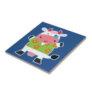 Fun Hawaiian Shirt Cartoon Cow Small Square Tile