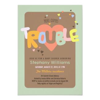 Fun Here Comes Trouble Baby Shower Invite Boy