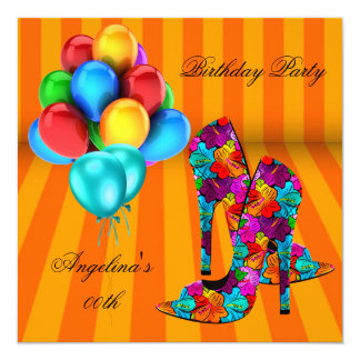 FUN High Heel Shoes Birthday Party Balloons 3 5.25x5.25 Square Paper Invitation Card