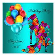 FUN High Heel Shoes Birthday Party Balloons Custom Announcement