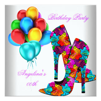 FUN High Heel Shoes Birthday Party Balloons 5.25x5.25 Square Paper Invitation Card