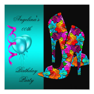 FUN High Heel Shoes Birthday Party floral Card