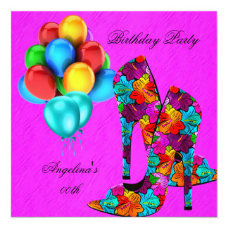 FUN High Heel Shoes Birthday Party Hot Pink Teal Card