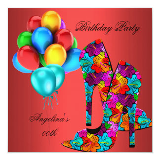 FUN High Heel Shoes Birthday Party Rust Red Teal Card