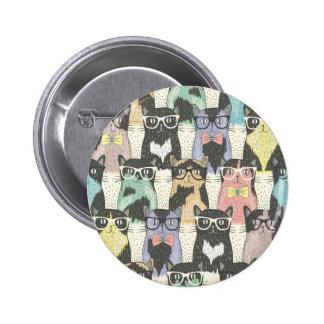 Fun,hipster,cat,pattern,trendy,cute,girly,modern, 2 Inch Round Button