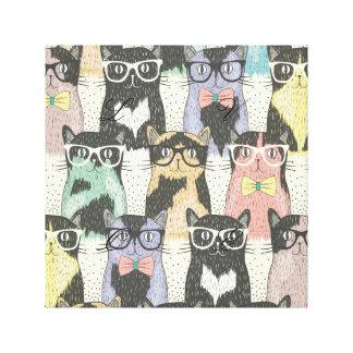 Fun,hipster,cat,pattern,trendy,cute,girly,modern, Canvas Print