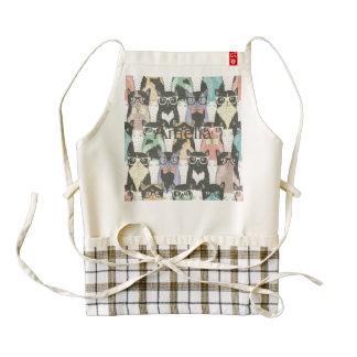Fun,hipster,cat,pattern,trendy,cute,girly,modern, Zazzle HEART Apron