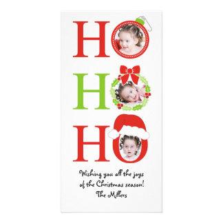 Fun HO HO HO Photo Frame Christmas Greeting Card
