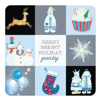 Fun Holiday Blocks Festive Party Card