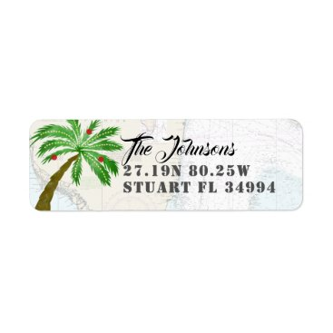 Fun Holiday Palm Tree Latitude Longitude Nautical Label