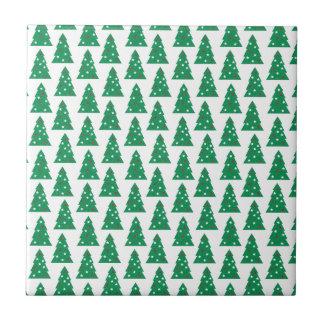 Fun Holiday Tree Pattern Ceramic Tile