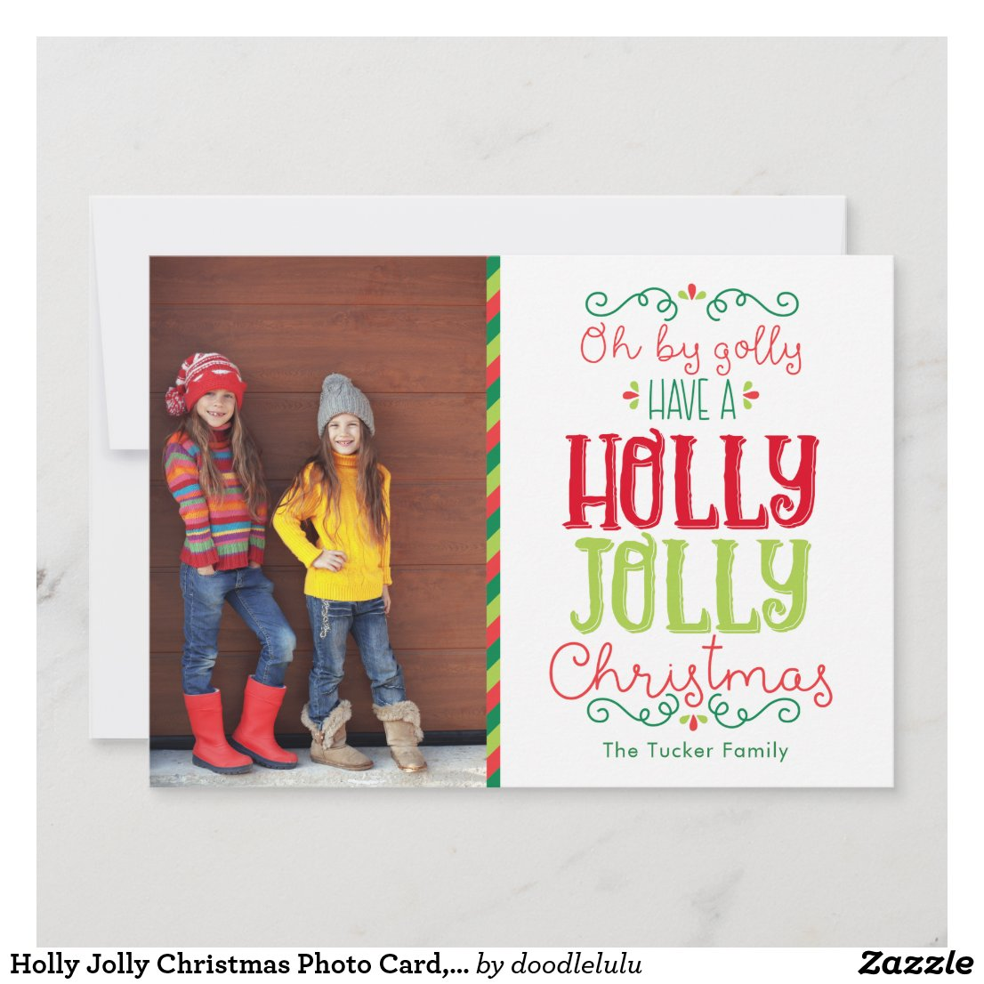 Fun Holly Jolly Christmas Photo Card, Red Green Holiday Card
