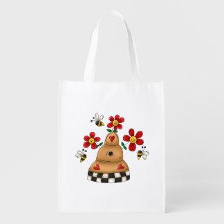 Fun honey beehive flowers bees grocery bag