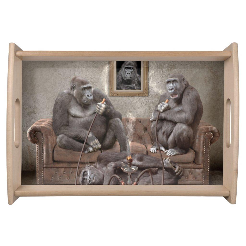Fun Hookah Smoking Apes Serving Tray