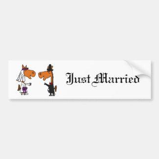 Fun Horse Bride and Groom Wedding Design Car Bumper Sticker