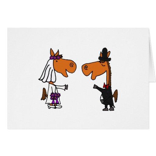 Fun Horse Bride and Groom Wedding Design Cards