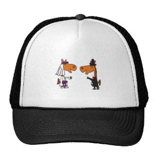 Fun Horse Bride and Groom Wedding Design Trucker Hat